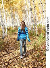 ragazza adolescente, autunno, solitario