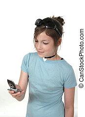 ragazza adolescente, con, cellphone, 1a