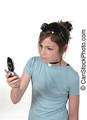 ragazza adolescente, con, cellphone, 2a