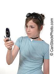 ragazza adolescente, con, cellphone, 3a