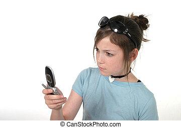ragazza adolescente, con, cellphone, 4a
