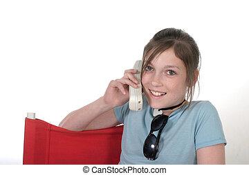 ragazza adolescente, con, cellphone, 8a
