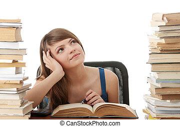 ragazza adolescente, cultura, a, il, scrivania