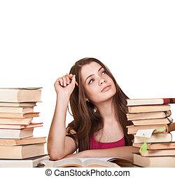 ragazza adolescente, cultura, a, il, scrivania, con, lotto, di, libri, intorno, isolato, bianco