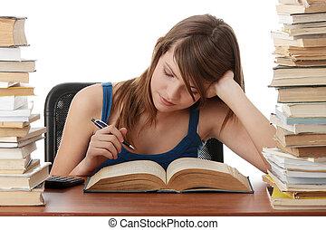 ragazza adolescente, cultura, scrivania