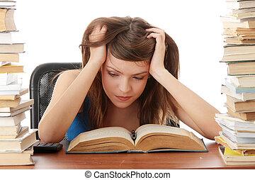 ragazza adolescente, essendo, stanco, scrivania, studiare