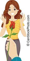 ragazza adolescente, fiore, mano