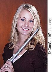 ragazza adolescente, flauto, isolato