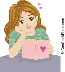 ragazza adolescente, lettura, romanza, libro
