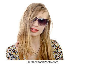 ragazza adolescente, occhiali, ritratto