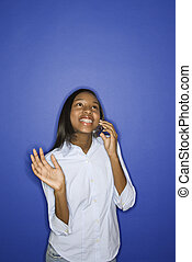 ragazza adolescente, parlare, su, cellphone.