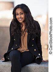 ragazza adolescente, ritratto, felice, americano africano, ...