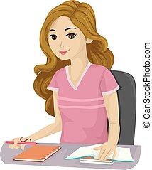 ragazza adolescente, scuola, studio