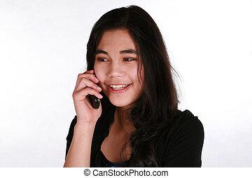 ragazza adolescente, su, cellphone