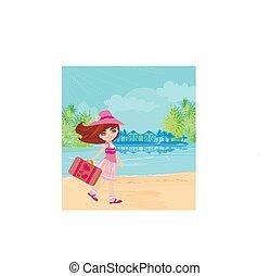 ragazza, adorabile, vacanza