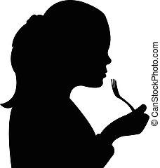 ragazza, affamato, mangiare, silhouette