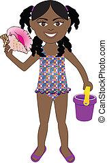 ragazza, afro, costume da bagno