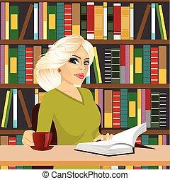 ragazza, amichevole, studente, studiare, biblioteca, biondo