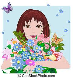 ragazza, amore, con, fiori