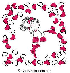 ragazza, amore, illustrazione