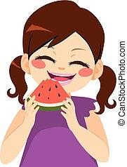 ragazza, anguria mangia