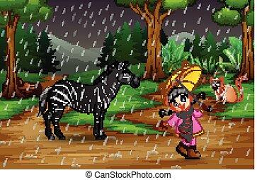 ragazza, animali, gioco, pioggia, sotto