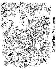 ragazza, anti, foresta, white., freckles, libro, vettore, riccio, scarabocchiare, suo, fiori, illustrazione, zentangl, mela, drawing., nero, head., coloritura, adults., leaf., bambino, stress