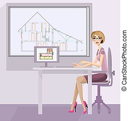 ragazza, architetto, posto lavoro