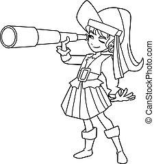 ragazza, arte, linea, pirata