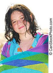 ragazza, asciugamano