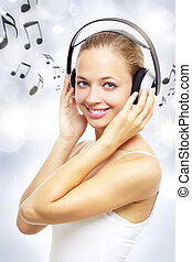 ragazza, ascoltare musica