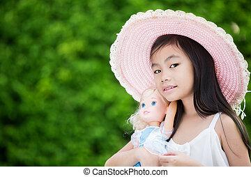 ragazza, asiatico, carino