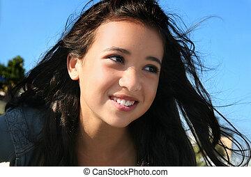 ragazza, asiatico, felice