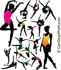 ragazza, balletto, silhouette, set, ballo