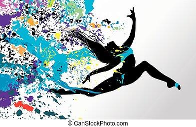 ragazza, ballo, luminoso, splatters.