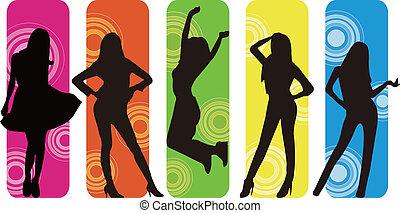 ragazza, ballo, silhouette