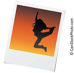 ragazza, ballo, vettore, cornice, foto