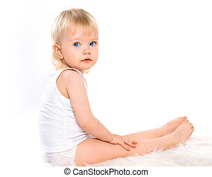 ragazza bambino, capelli biondi, calma, ritratto