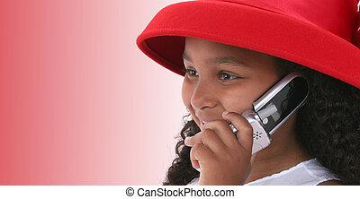 ragazza, bambino, cellphone