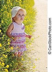 ragazza bambino, con, fiore