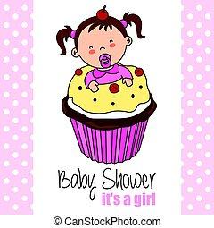 ragazza bambino, dentro, cupcake
