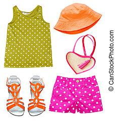 ragazza bambino, estate, luminoso, moda, clothing.