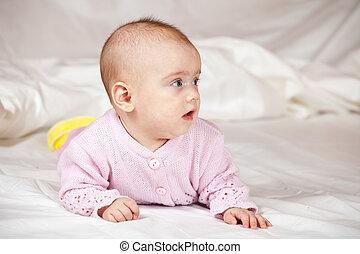 ragazza bambino, mesi, 5