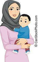ragazza bambino, musulmano, mamma, illustrazione