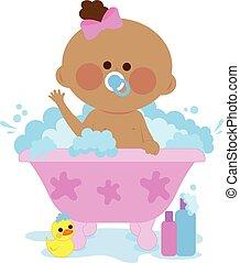 ragazza bambino, presa, bagno