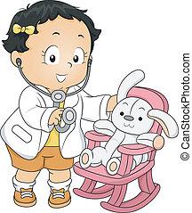 ragazza, bambino primi passi, dottore