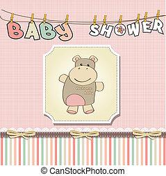 ragazza, bambino, scheda, infantile, doccia