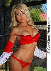 ragazza, baseball, sexy