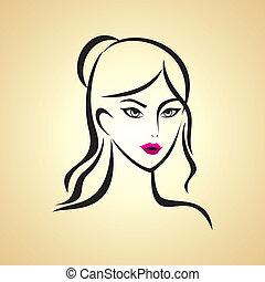 ragazza, bellezza, faccia
