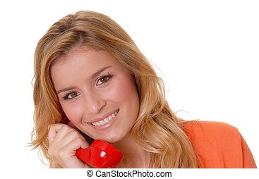 ragazza, bello, telefono, biondo